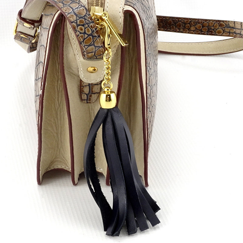Riley Cross body bag off white with grey crocodile printed leather tassel view