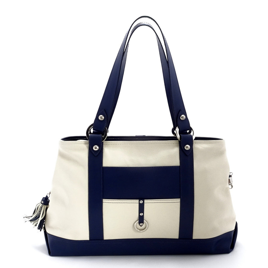 Felicity  Navy blue kangaroo cream leather stud detail large tote bag handles up