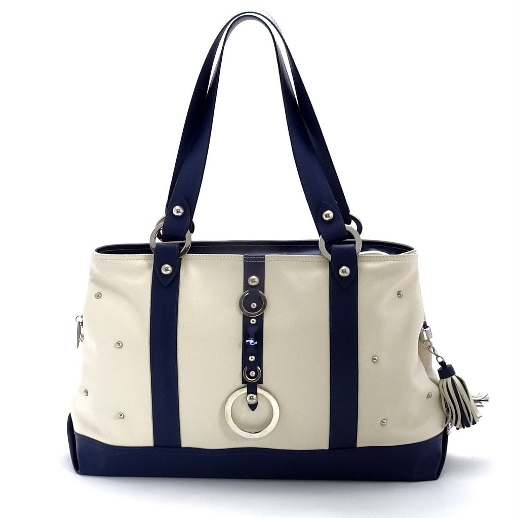 Felicity  Navy blue kangaroo cream leather stud detail large tote bag front handles up