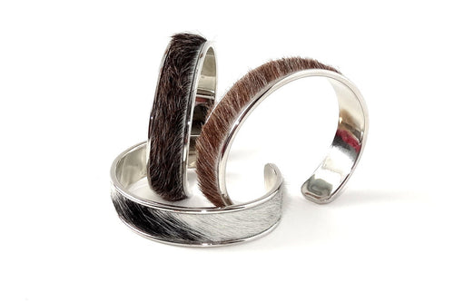 Sunny  Hair on cow hide open ended bangle metal jewellery bangle group