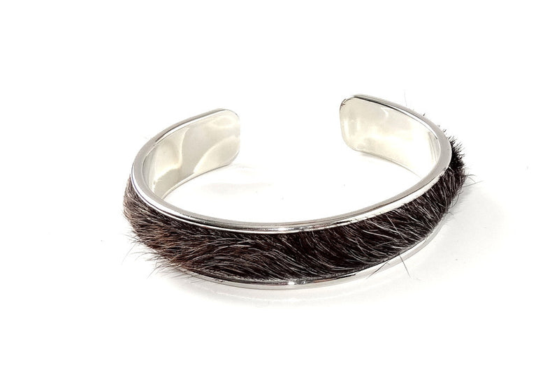 Sunny  Hair on cow hide open ended bangle metal jewellery bangle