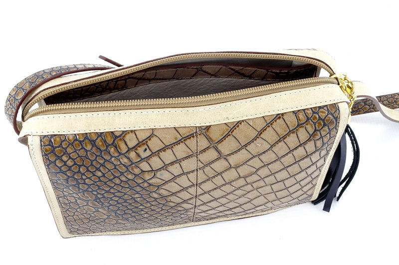 Riley Cross body bag off white with grey crocodile printed leather inside top strip view