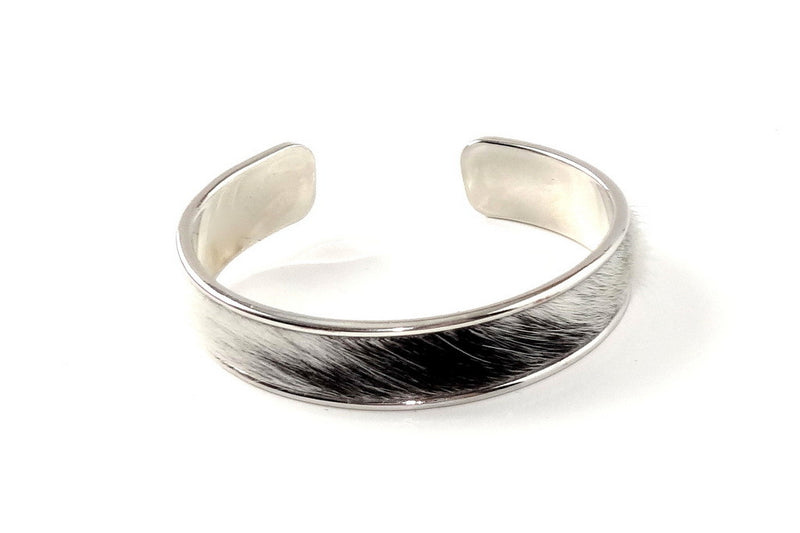 Sunny  Hair on cow hide open ended bangle metal jewellery