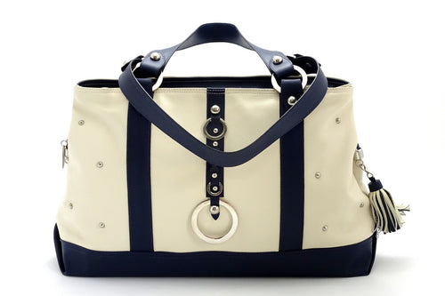 Felicity  Navy blue kangaroo cream leather stud detail large tote bag front handles down