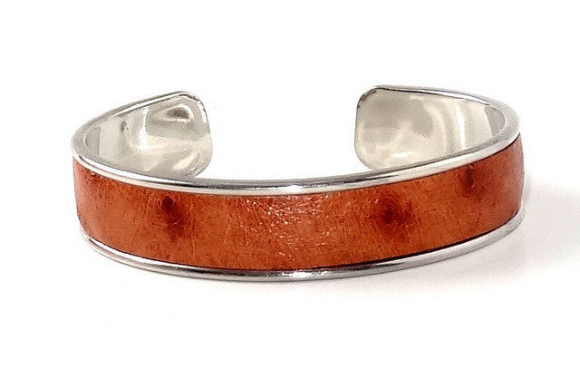 Sunny  Ostrich open ended bangle metal jewellery