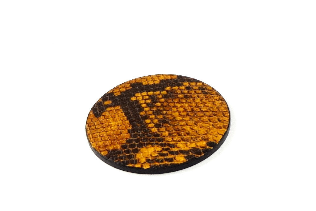 Coaster - Round leather yellow and grey snake printed leather