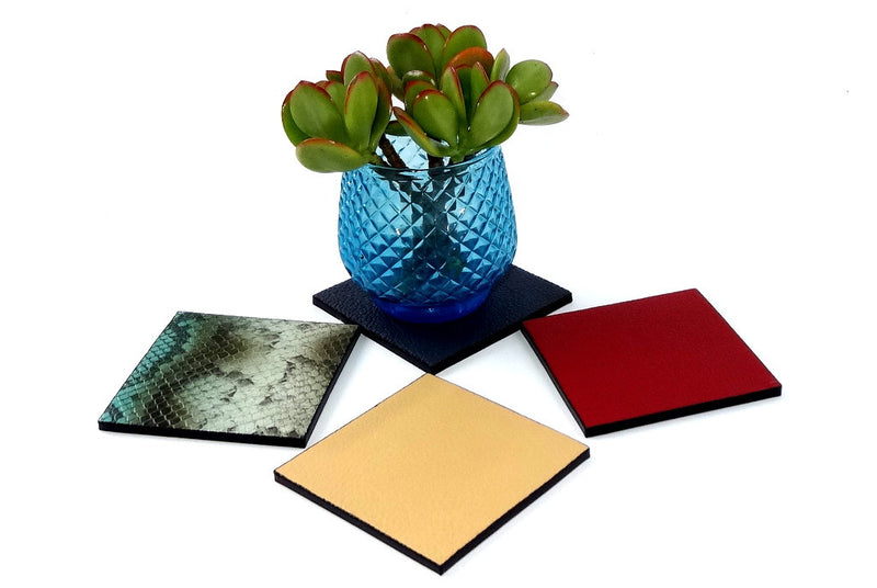 Coaster - Square leather group photo