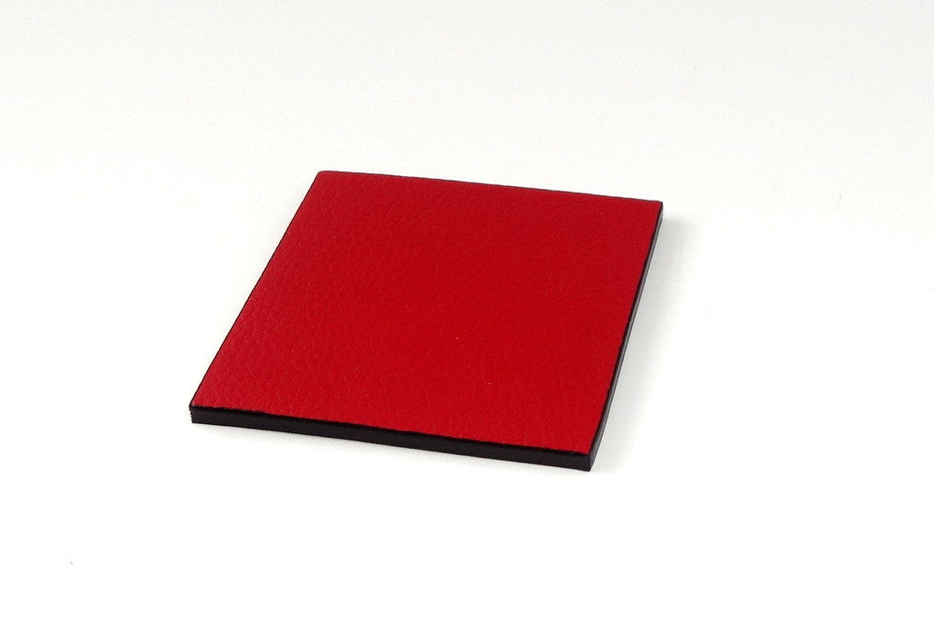 Coaster - Square leather red leather