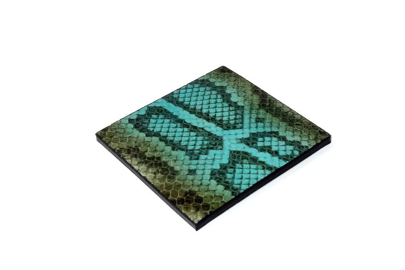 Coaster - Square leather olive blue snake printed leather