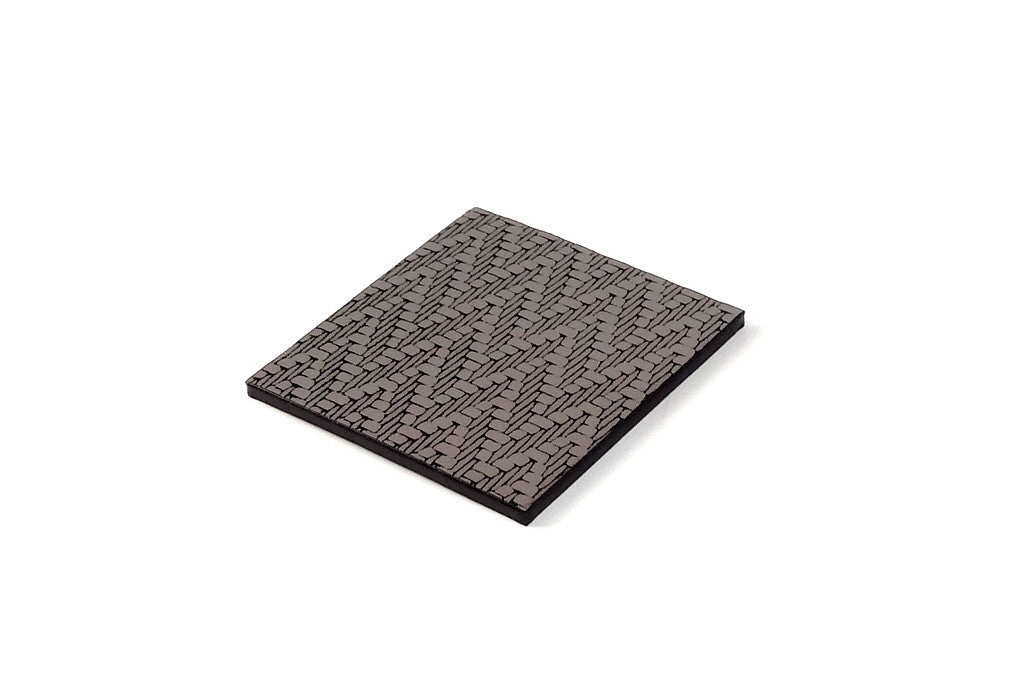 Coaster - Square leather silver zig zag leather