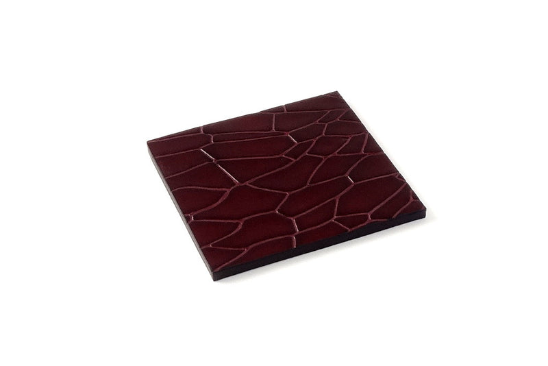Coaster - Square leather burgundy foil printed leather