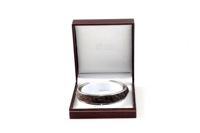 Sunny  Hair on cow hide open ended bangle metal jewellery bangle boxed