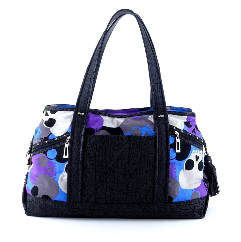 Felicity  Black leather with a skull print fabric large tote bag back handles up