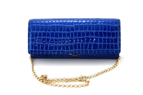 Leah  Blue foil coated leather ladies clutch bag
