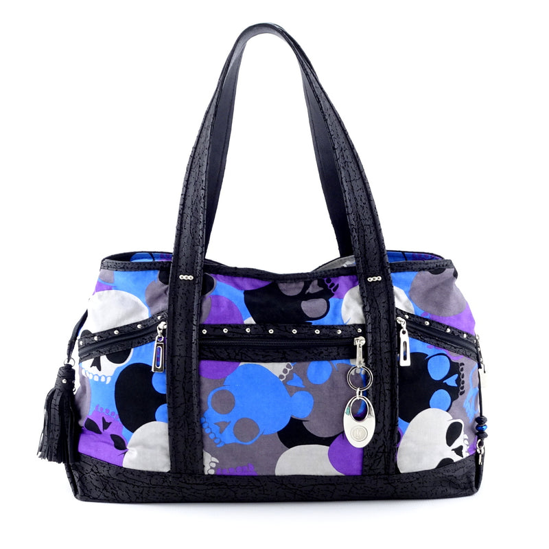 Felicity  Black leather with a skull print fabric large tote bag front handles up