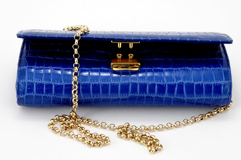 Leah  Blue foil coated leather ladies clutch bag showing clasp