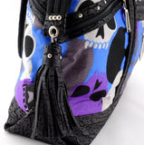 Felicity  Black leather with a skull print fabric large tote bag side end tassel