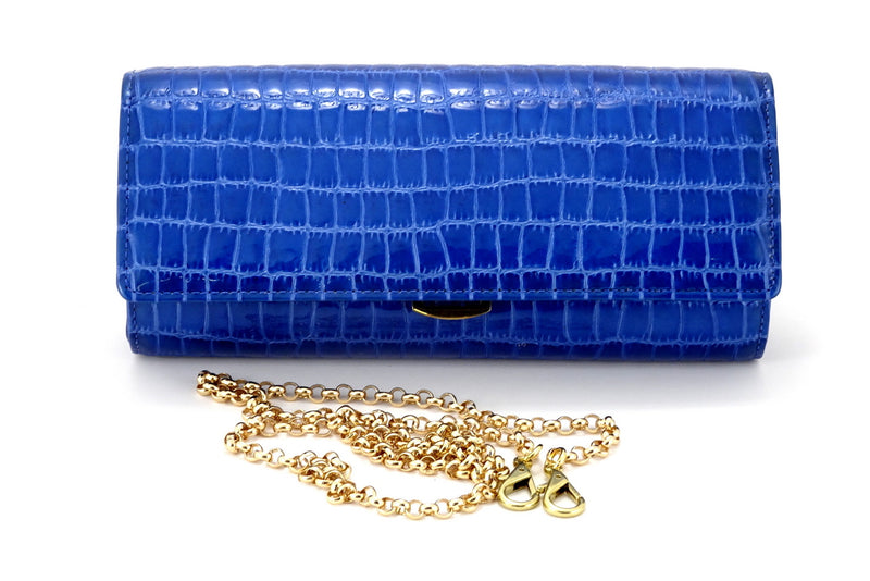 Leah  Blue foil coated leather ladies clutch bag chain removed
