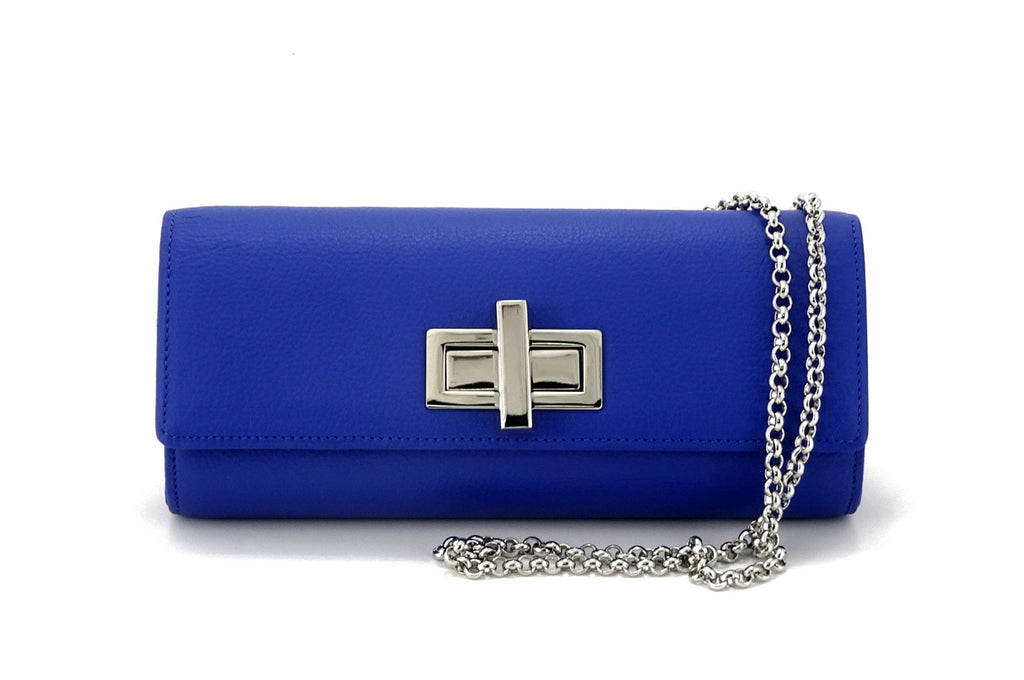 Leah  Cobalt blue textured leather ladies small clutch bag with chain shoulder strap