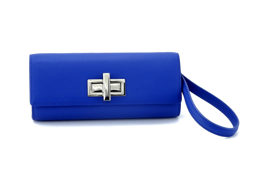 Leah  Cobalt blue textured leather ladies small clutch bag with wrist strap