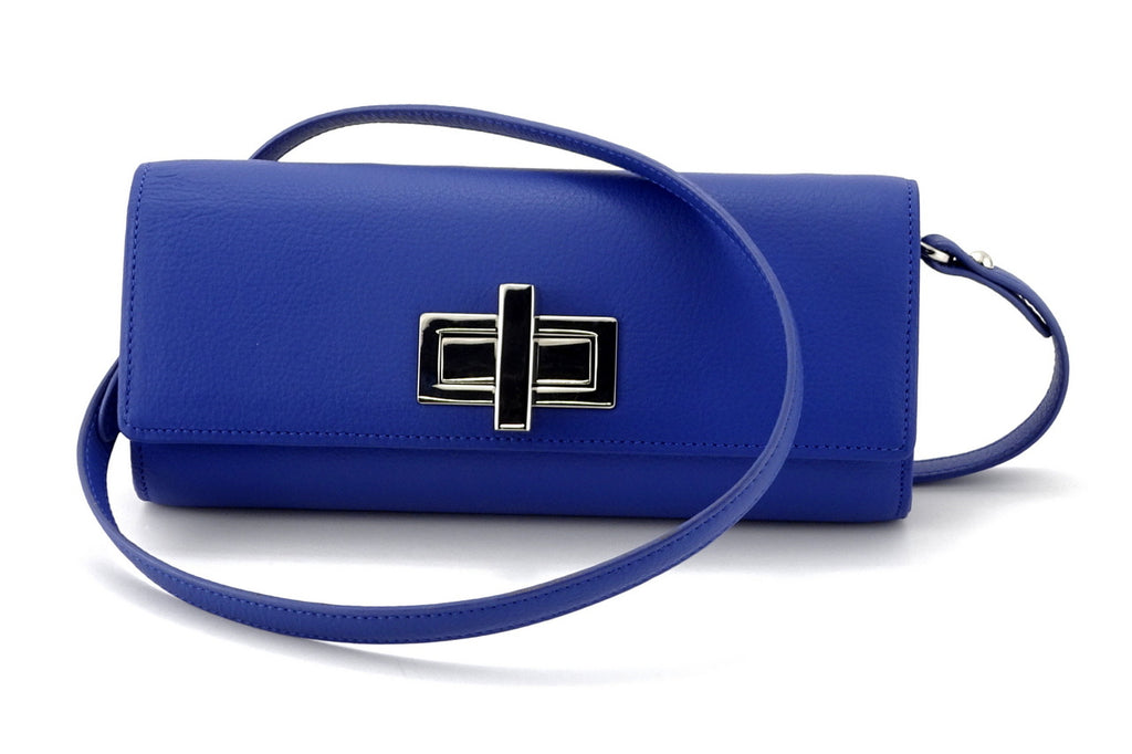 Leah  Cobalt blue textured leather ladies small clutch bag with leather shoulder strap
