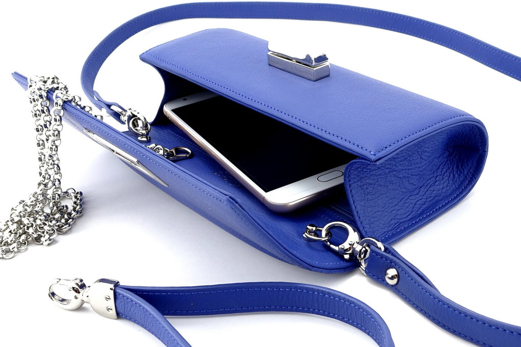 Leah  Cobalt blue textured leather ladies small clutch bag showing internal
