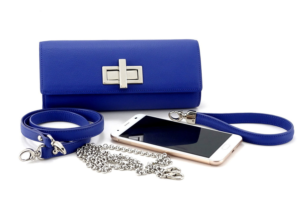 Leah  Cobalt blue textured leather ladies small clutch bag showing accessories