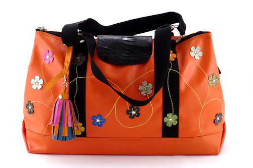 Felicity  Orange leather webbing straps & flowers large tote bag front handles down