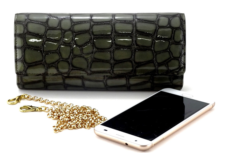 Leah  Grey foil coated leather ladies small clutch bag