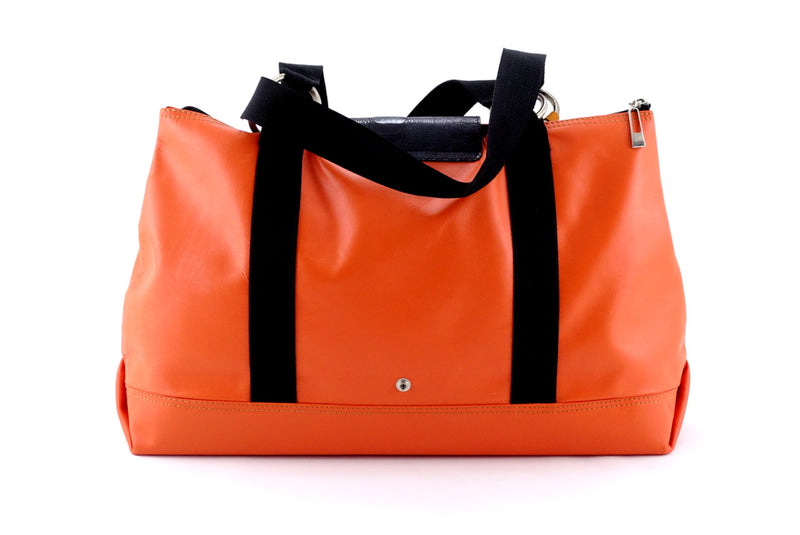 Felicity  Orange leather webbing straps & flowers large tote bag back handles down