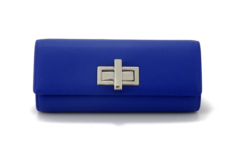 Leah  Cobalt blue textured leather ladies small clutch bag