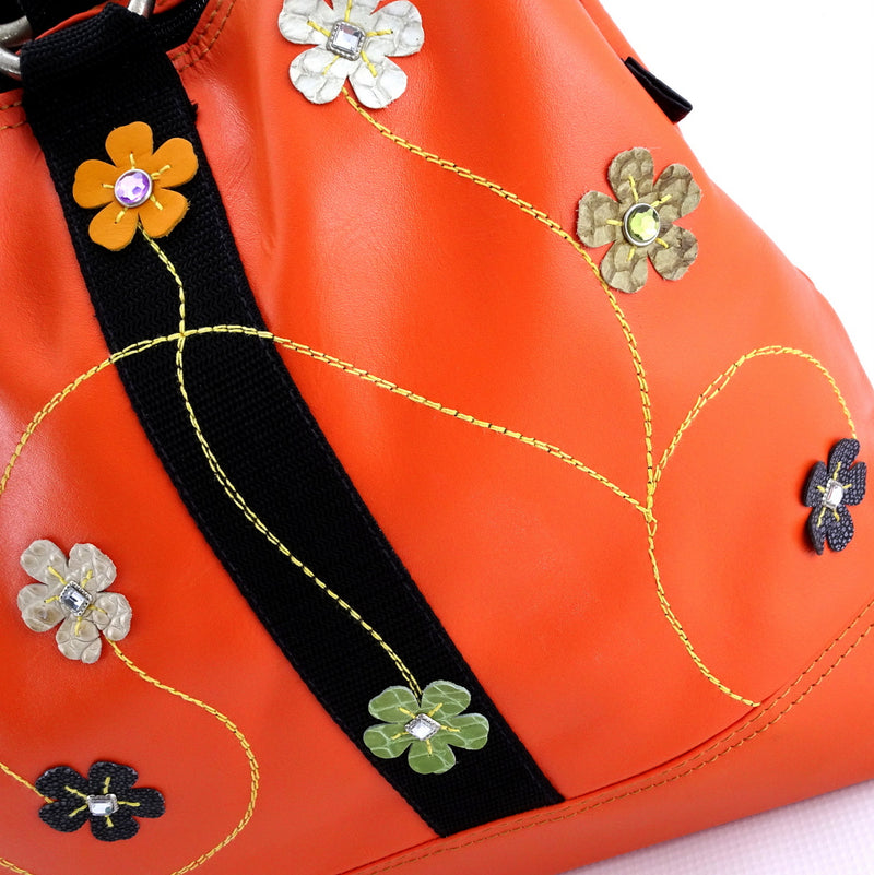 Felicity  Orange leather webbing straps & flowers large tote bag flower detail