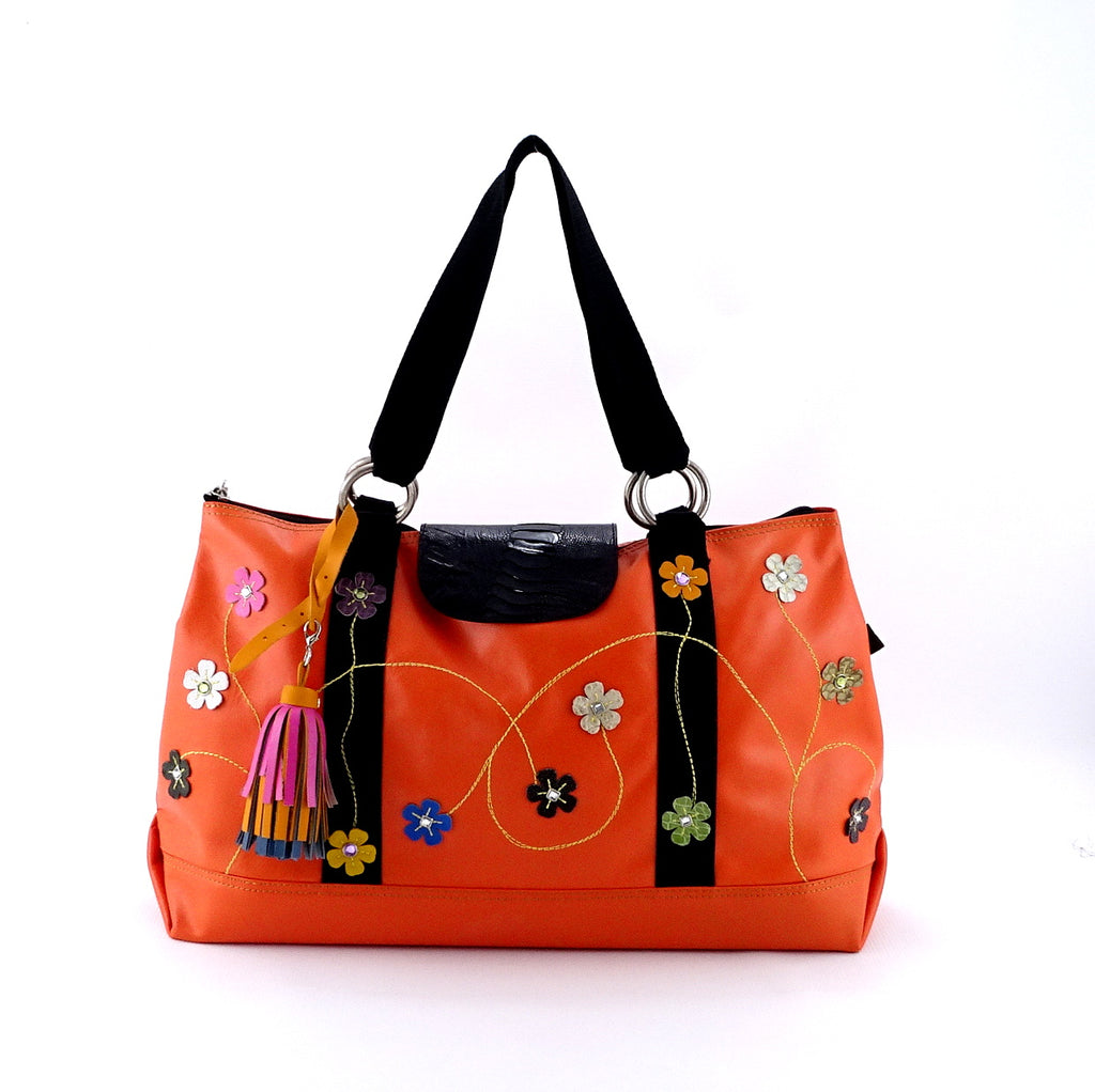 Felicity  Orange leather webbing straps & flowers large tote bag front handles up