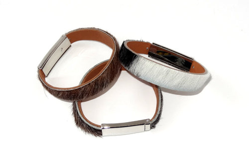 Robin  Wrist straps Hair on cow hide leather jewellery wristband group