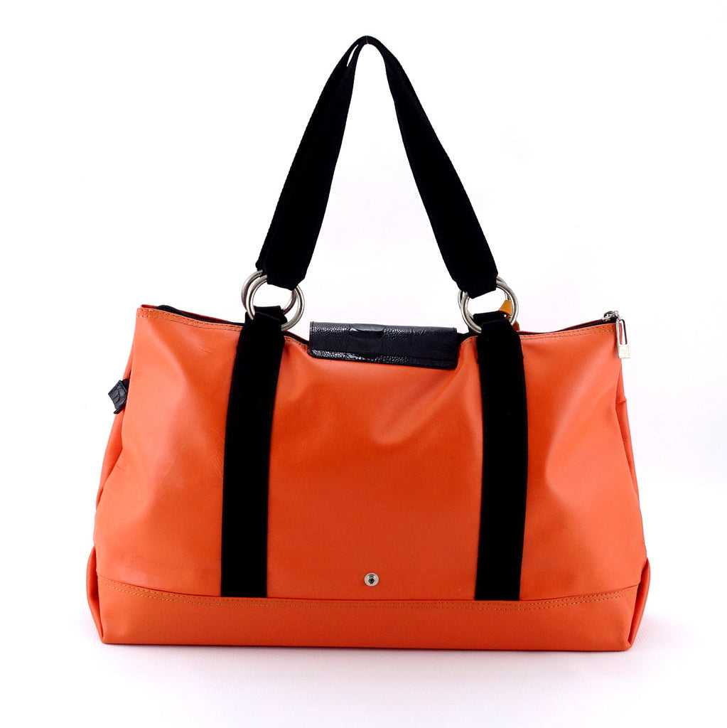 Felicity  Orange leather webbing straps & flowers large tote bag back handles up