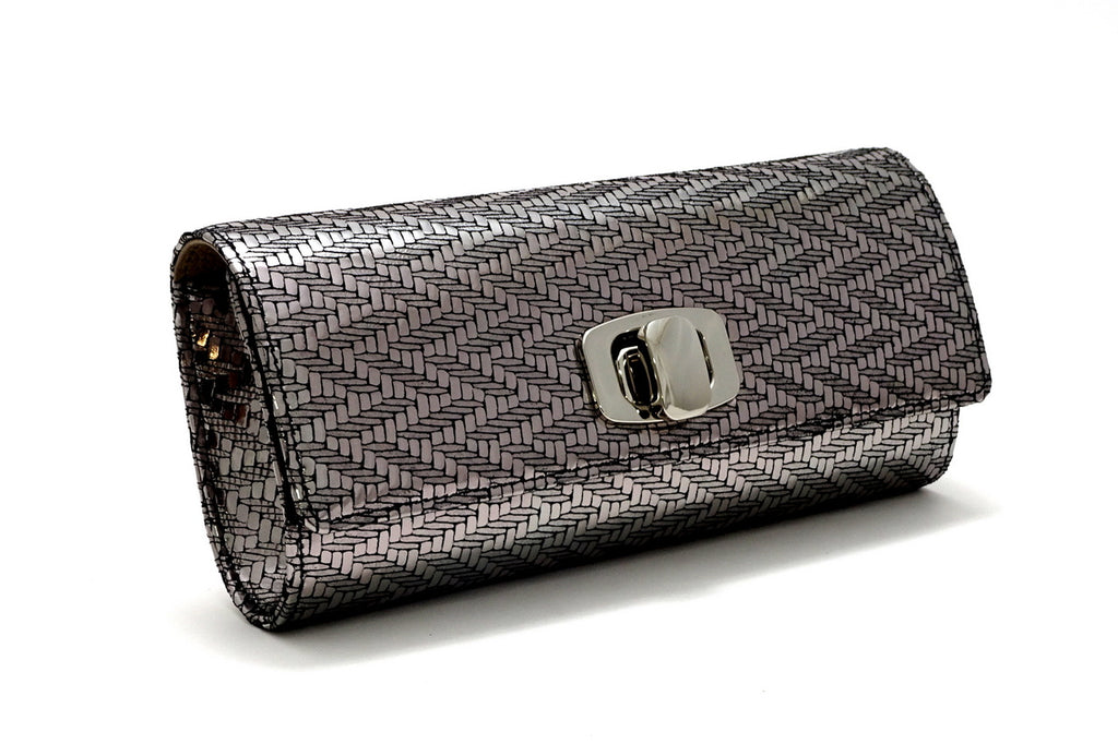 Leah  Silver zig zag leather ladies small clutch bag