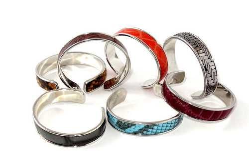 Sunny  Leather open ended bangle metal jewellery group