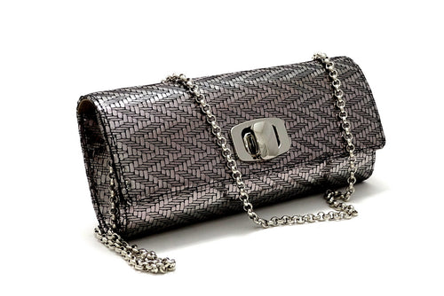 Leah  Silver zig zag leather ladies small clutch bag with removable chain shoulder strap