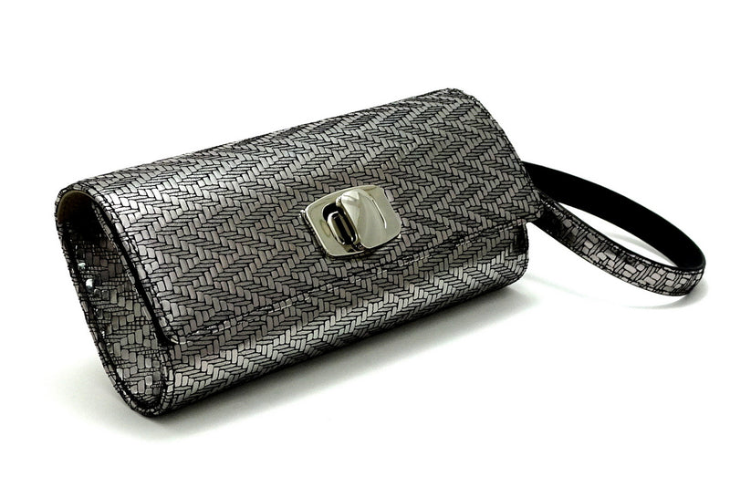 Leah  Silver zig zag leather ladies small clutch bag with removable wrist strap