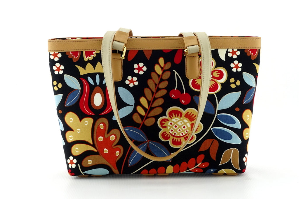 Emily  Medium leather & fabric tote bag custard leather & flower print