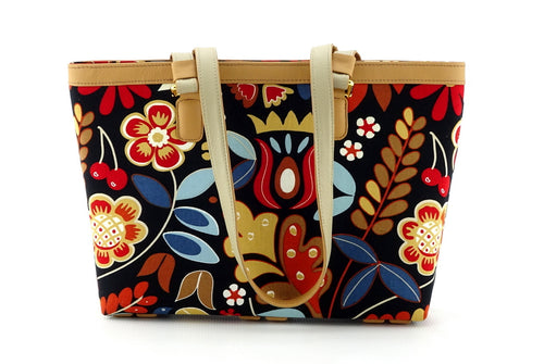 Emily  Medium leather & fabric tote bag custard leather & flower print front handles down