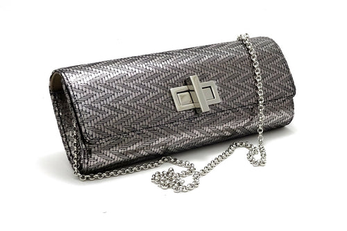 Meredith  Silver zig zag leather ladies clutch evening bag