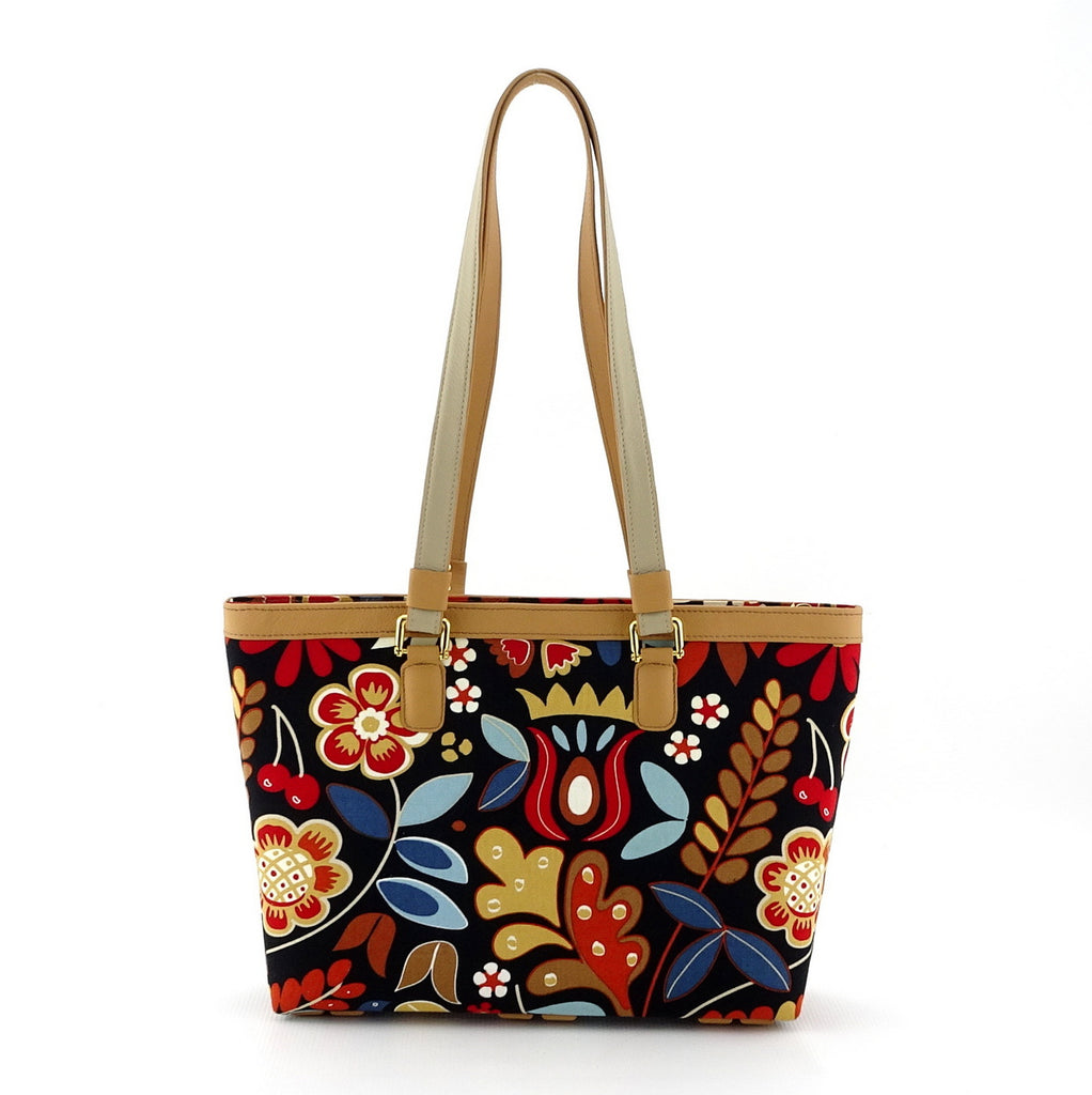 Emily  Medium leather & fabric tote bag custard leather & flower print handles up
