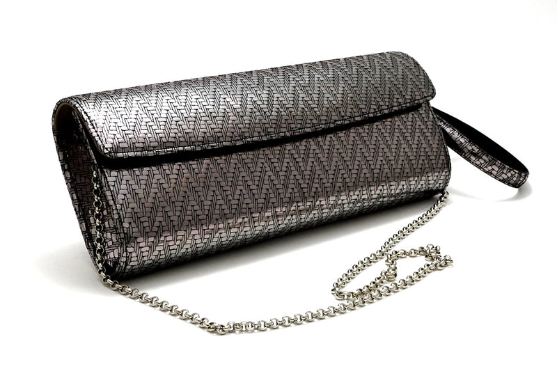 Kate Silver zig zag textured leather ladies evening clutch bag with wrist strap and shoulder chain