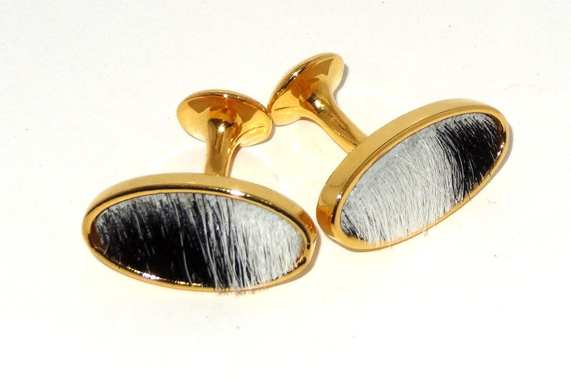 Cuff link   Hair on Hide costume jewellery black and white