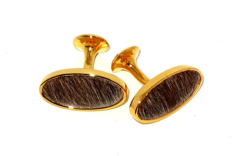 Cuff link   Hair on Hide costume jewellery brown