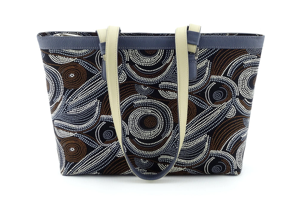 Emily  Medium fabric & leather tote bag Aboriginal designed fabric front view handles down