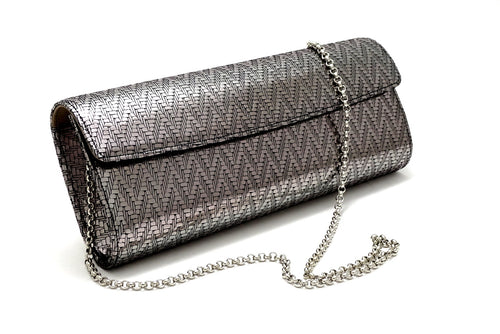 Kate Silver zig zag textured leather ladies evening clutch bag with chain shoulder strap