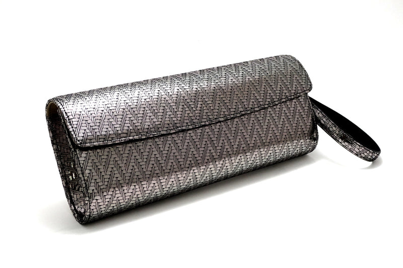 Kate Silver zig zag textured leather ladies evening clutch bag with wrist strap