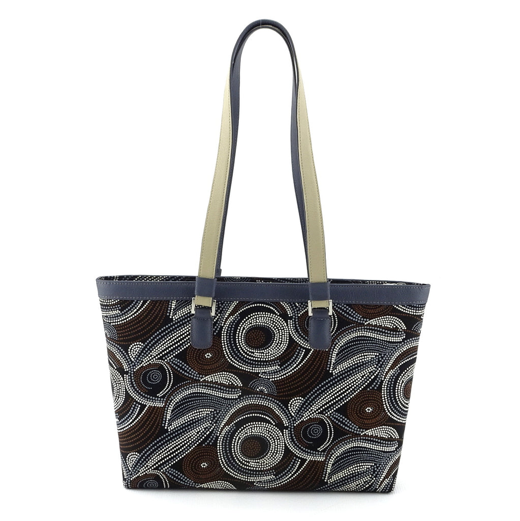 Emily  Medium fabric & leather tote bag Aboriginal designed fabric back view handles up